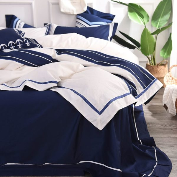 Attractive Royal Blue White Stripe Embroidery Bedding Set 8 600x600 - Attractive Royal Blue & White Stripe Embroidery Bedding Set