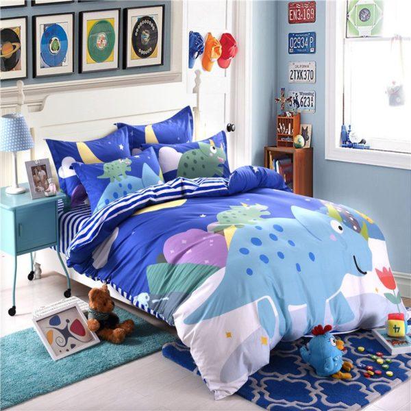 Blue Dinosaur Comforter Set Twin Queen Size SJL 6 600x600 - Blue Dinosaur Comforter Set Twin Queen Size SJL