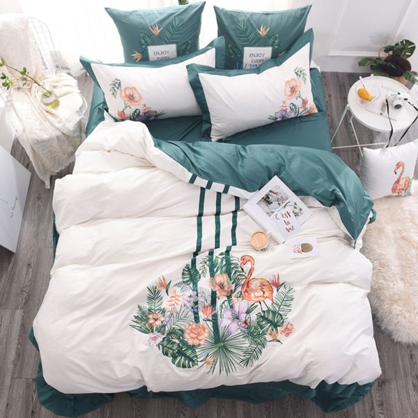Delightful Flower Themed Embroidery Bedding Set (1)