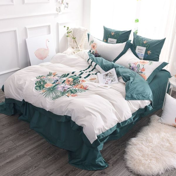 Delightful Flower Themed Embroidery Bedding Set 3 600x600 - Delightful Flower Themed Embroidery Bedding Set