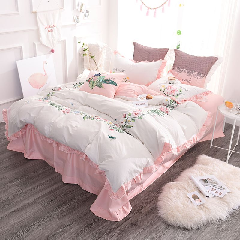 Exquisite Pink & White Embroidery Bedding Set | EBeddingSets