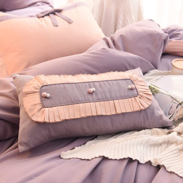 Graceful Light Purple Egyptian Cotton Embroidery Bedding Set