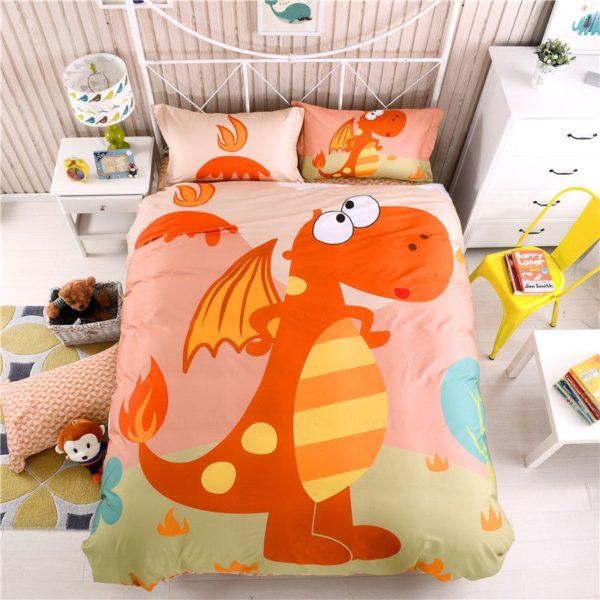 Kids Dragon Print Bedding Set Twin Queen Size HL 1