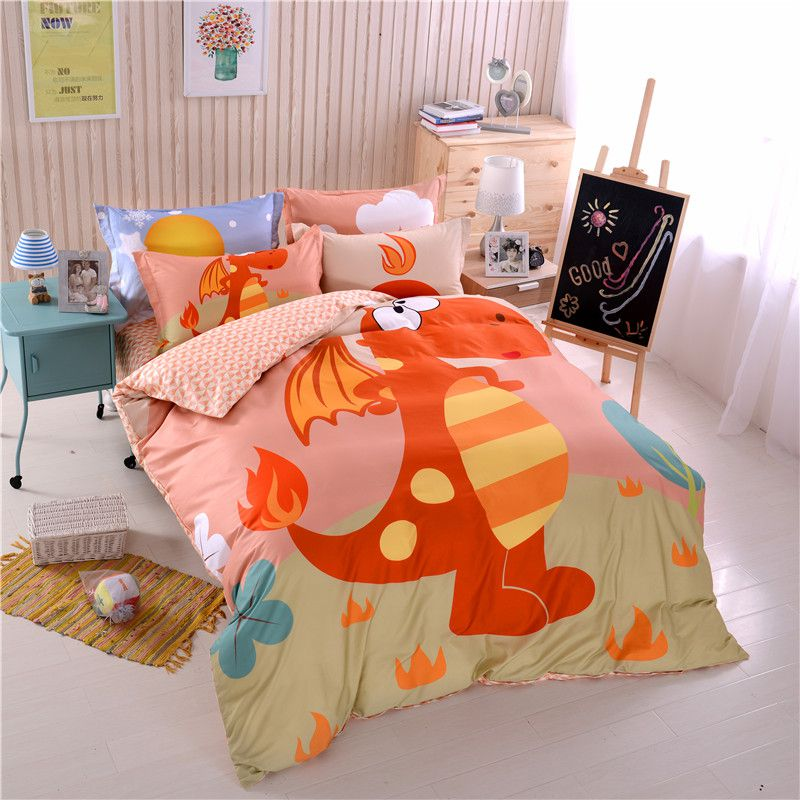 Kids Dragon Print Bedding Set Twin Queen Size Hl