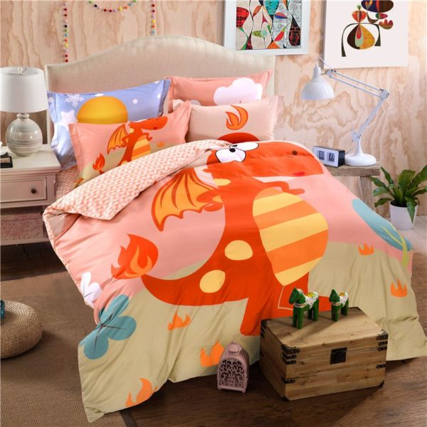 Kids Dragon Print Bedding Set Twin Queen Size HL 5