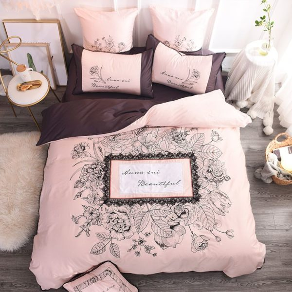 Lovely Rose Color Egyptian Cotton Embroidery Bedding Set 1