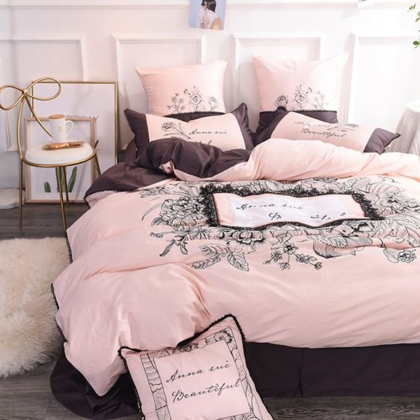 Lovely Rose Color Egyptian Cotton Embroidery Bedding Set 2 600x600 - Lovely Rose Color Egyptian Cotton Embroidery Bedding Set