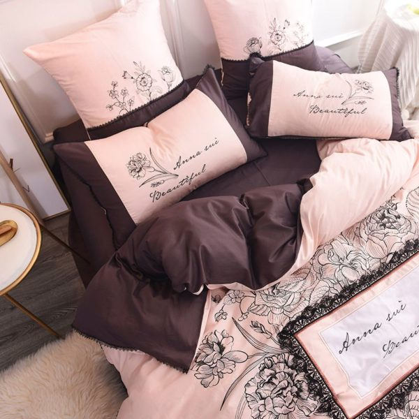 Lovely Rose Color Egyptian Cotton Embroidery Bedding Set 3 600x600 - Lovely Rose Color Egyptian Cotton Embroidery Bedding Set