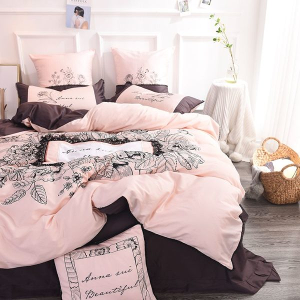 Lovely Rose Color Egyptian Cotton Embroidery Bedding Set 4 600x600 - Lovely Rose Color Egyptian Cotton Embroidery Bedding Set