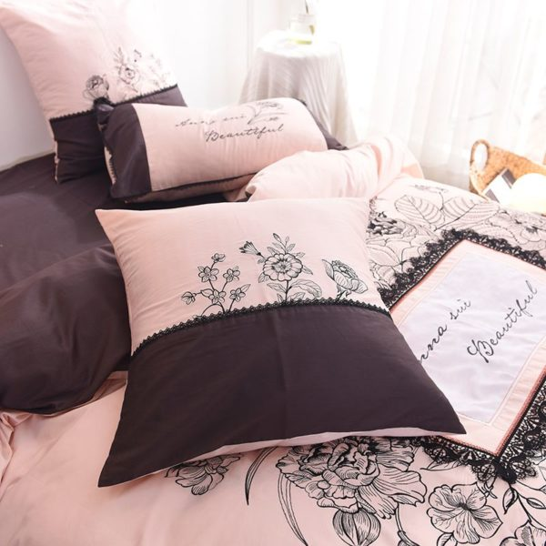 Lovely Rose Color Egyptian Cotton Embroidery Bedding Set 7 600x600 - Lovely Rose Color Egyptian Cotton Embroidery Bedding Set