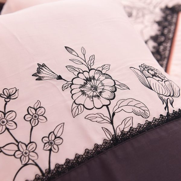 Lovely Rose Color Egyptian Cotton Embroidery Bedding Set 8 600x600 - Lovely Rose Color Egyptian Cotton Embroidery Bedding Set