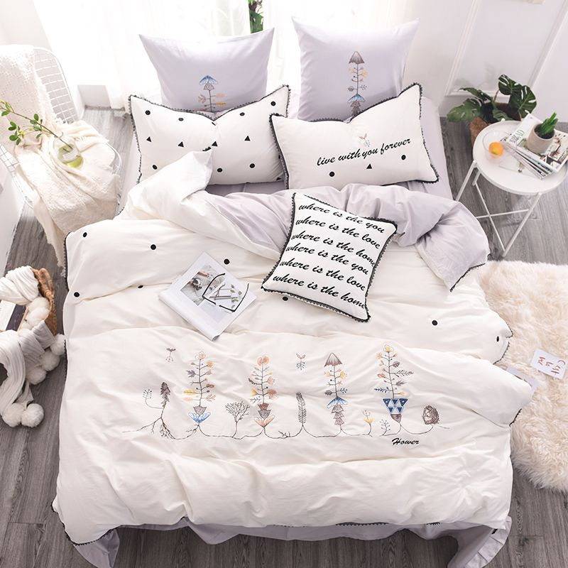 Luxurious White Egyptian Cotton Embroidery Bedding Set 2