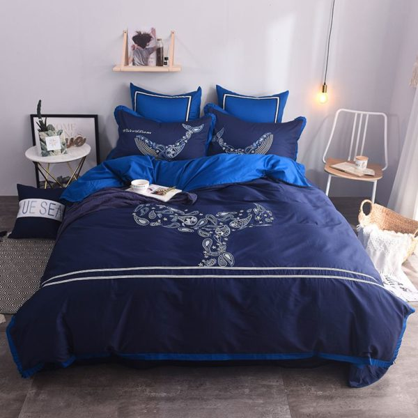 Mesmerizing Royal Blue Egyptian Cotton Embroidery Bedding Set 1