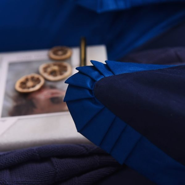 Mesmerizing Royal Blue Egyptian Cotton Embroidery Bedding Set 10