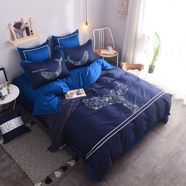 Mesmerizing Royal Blue Egyptian Cotton Embroidery Bedding Set 2