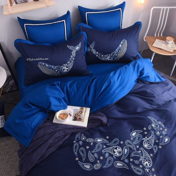 Mesmerizing Royal Blue Egyptian Cotton Embroidery Bedding Set 3
