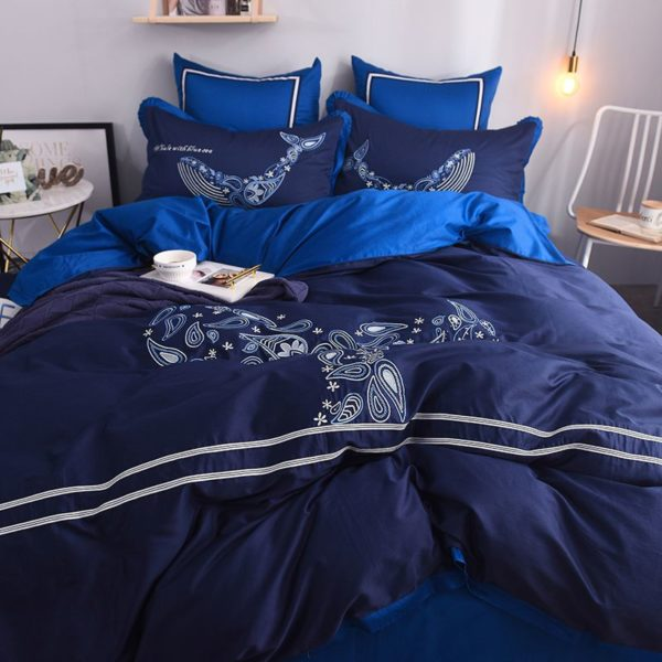 Mesmerizing Royal Blue Egyptian Cotton Embroidery Bedding Set 4