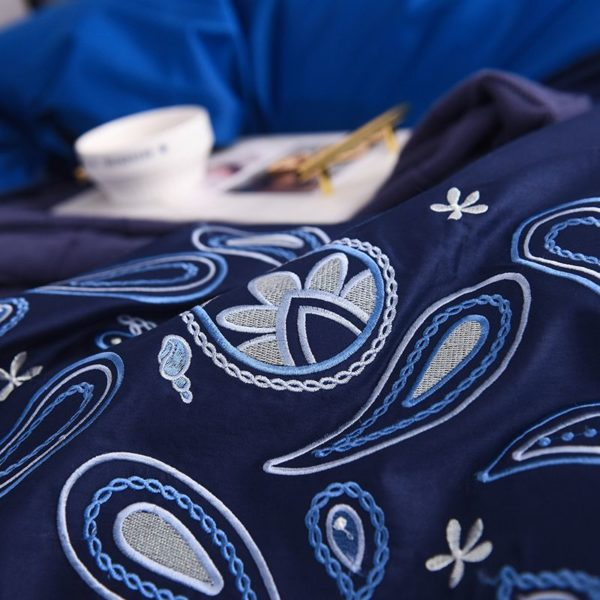 Mesmerizing Royal Blue Egyptian Cotton Embroidery Bedding Set 5