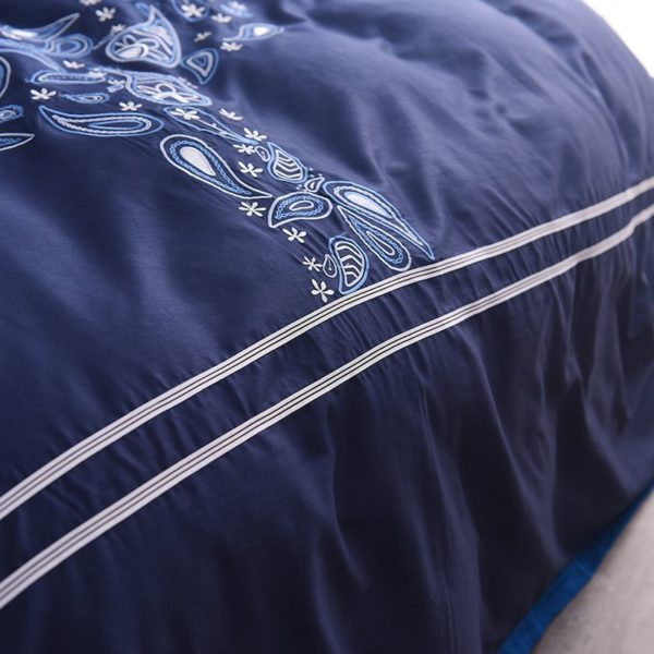 Mesmerizing Royal Blue Egyptian Cotton Embroidery Bedding Set 6