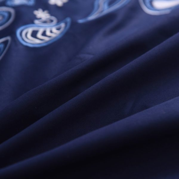 Mesmerizing Royal Blue Egyptian Cotton Embroidery Bedding Set 7