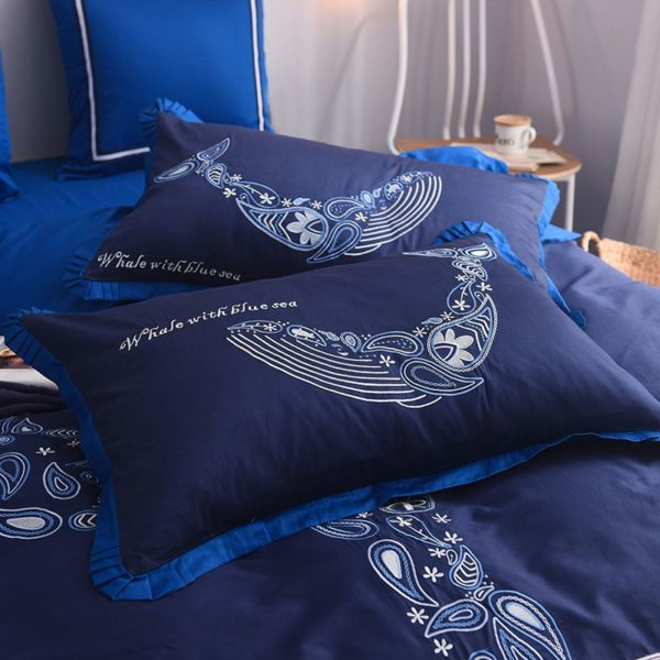 Mesmerizing Royal Blue Egyptian Cotton Embroidery Bedding Set 8