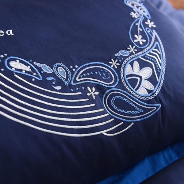 Mesmerizing Royal Blue Egyptian Cotton Embroidery Bedding Set 9
