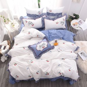 Romantic Love Story White Embroidery Bedding Set