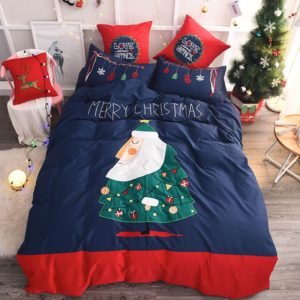 Stylish Marry Christmas Themed Embroidery Bedding Set (1)
