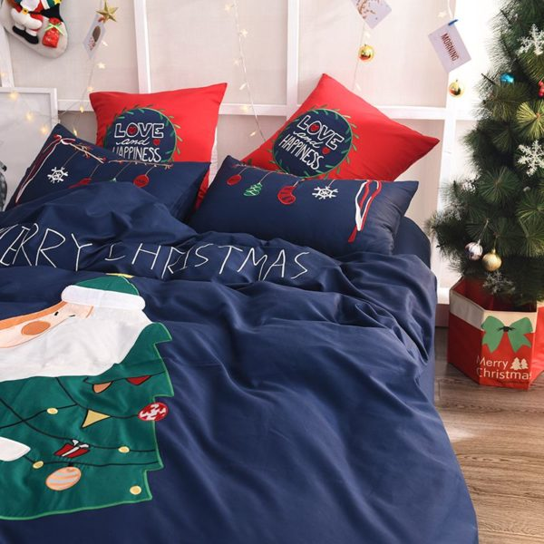 Stylish Marry Christmas Themed Embroidery Bedding Set 3 600x600 - Stylish Marry Christmas Themed Embroidery Bedding Set