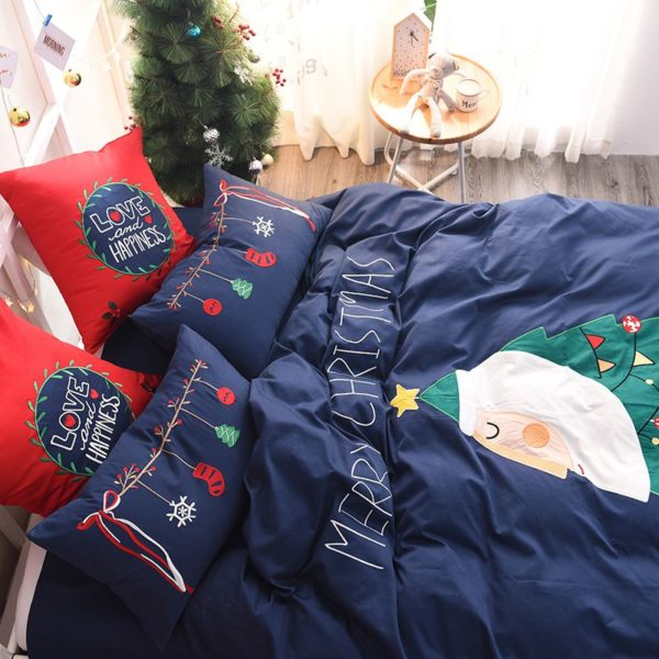 Stylish Marry Christmas Themed Embroidery Bedding Set 4 600x600 - Stylish Marry Christmas Themed Embroidery Bedding Set