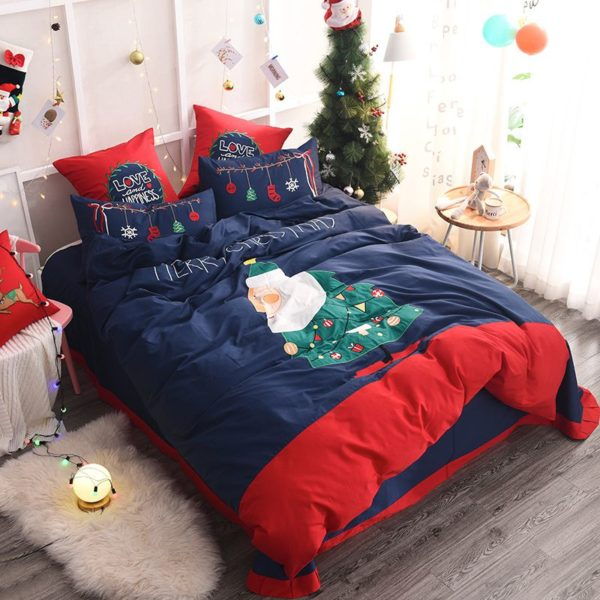 Stylish Marry Christmas Themed Embroidery Bedding Set 5 600x600 - Stylish Marry Christmas Themed Embroidery Bedding Set