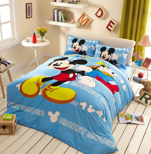 Awesome Mickey Mouse Light Blue Bedding Set