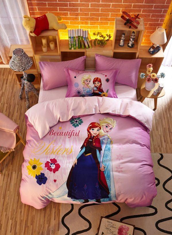Beautiful Sisters Elsa Anna Pink Bedding Set 1 600x821 - Beautiful Sisters Elsa Anna Pink Bedding Set