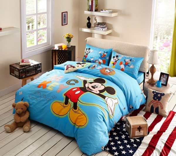 Blue Color Mickey Mouse Kids Bedding Set 1 600x533 - Blue Color Mickey Mouse Kids Bedding Set
