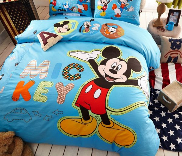Blue Color Mickey Mouse Kids Bedding Set 2 600x514 - Blue Color Mickey Mouse Kids Bedding Set