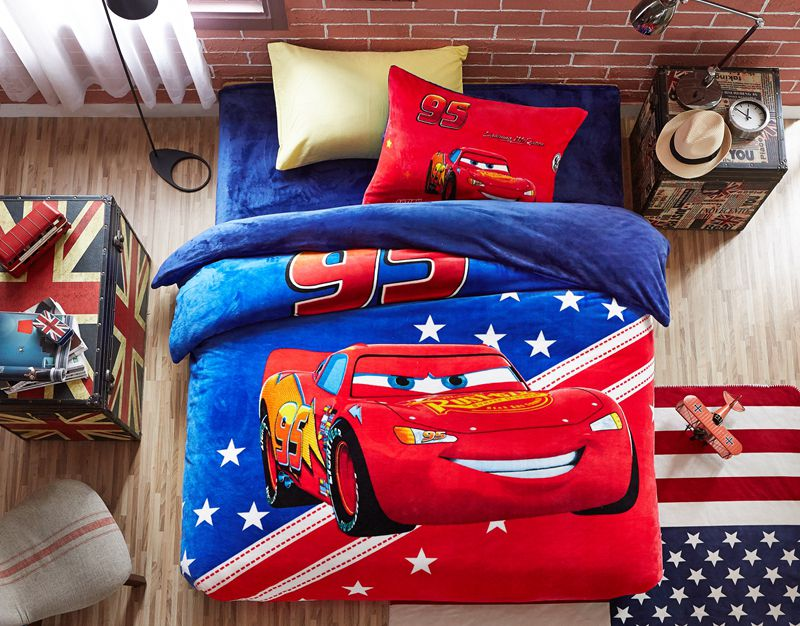 Kids Love Themed Bedroom Sets: Disney Cars Film Themed Kids Bedding Set Twin Queen Size