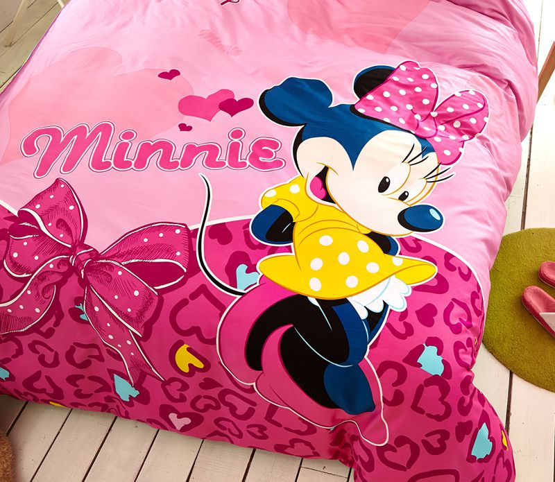 disney minnie mouse pink bedding set for teen girls