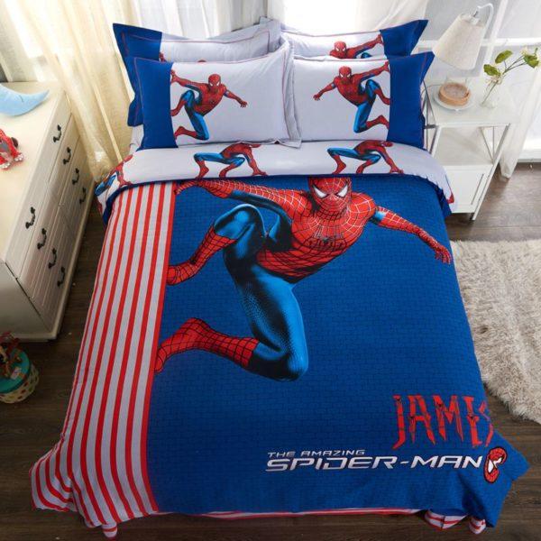 Fashionable Blue Color Spider Man Bedding Set