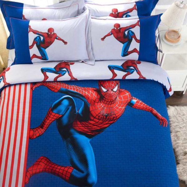 Fashionable Blue Color Spider Man Bedding Set 4