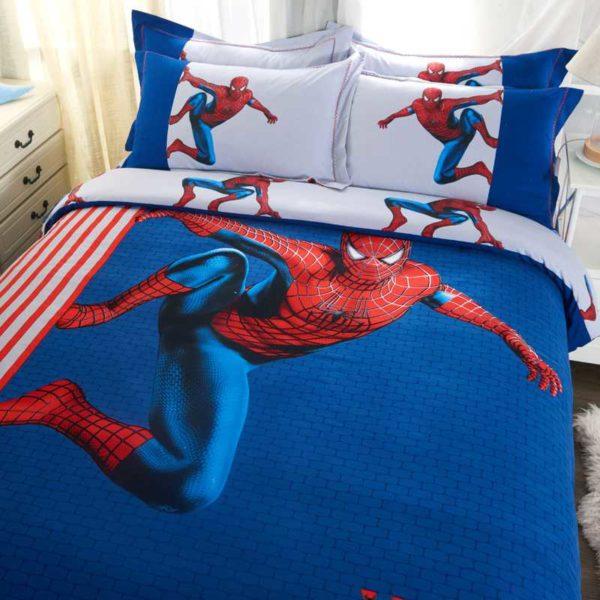 Fashionable Blue Color Spider Man Bedding Set 5