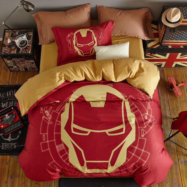 Indian Red Color Boys and Kids Iron Man Bedding Set