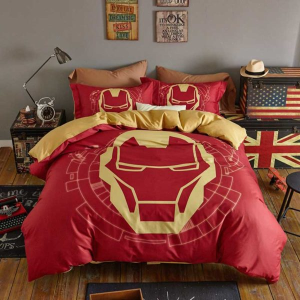 Indian Red Color Boys and Kids Iron Man Bedding Set 4