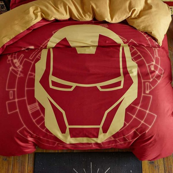 Indian Red Color Boys and Kids Iron Man Bedding Set 5