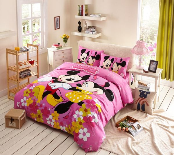 Kids Mickey Minnie Mouse Pink Bedding Set 1