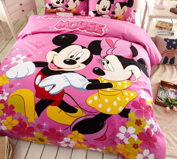Kids Mickey Minnie Mouse Pink Bedding Set 2