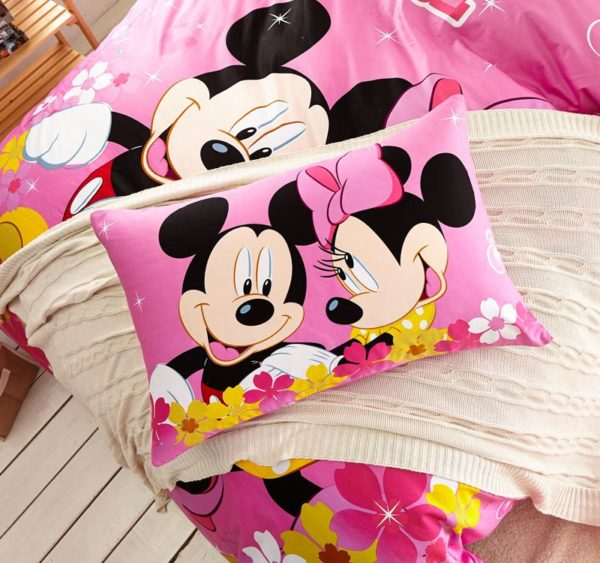 Kids Mickey Minnie Mouse Pink Bedding Set 4
