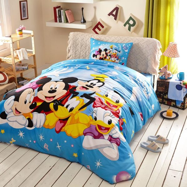 Light Sky Blue Color Mickey and Friends Bedding Set 1 600x600 - Light Sky Blue Color Mickey and Friends Bedding Set