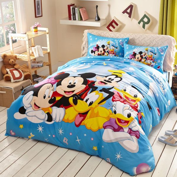 Light Sky Blue Color Mickey and Friends Bedding Set