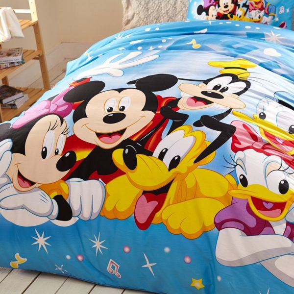 Light Sky Blue Color Mickey and Friends Bedding Set 4 600x600 - Light Sky Blue Color Mickey and Friends Bedding Set