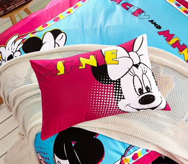 Lovely Mickey Minnie Mouse Kids Bedding Set 4 600x524 - Lovely Mickey & Minnie Mouse Kids Bedding Set